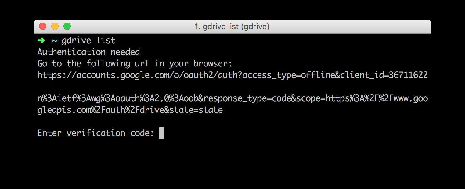 Console: GoogleDrive auth link
